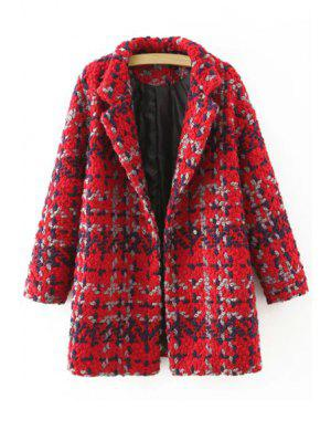 Plaid Pattern Lapel Neck Long Sleeve Coat - Red L