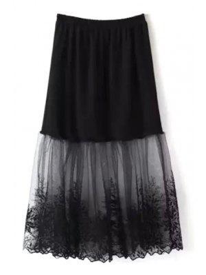 Lace Mesh Spliced A Line Falda - Negro
