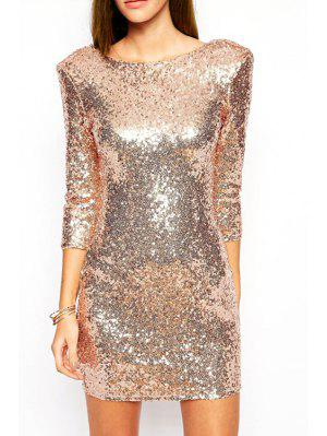 Sequins Scoop Neck 3/4 Sleeve Dress
