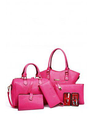 Stone Pattern Solid Color Tote Bag - Rose
