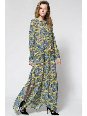 Printed Long Sleeve Maxi Prom Dress