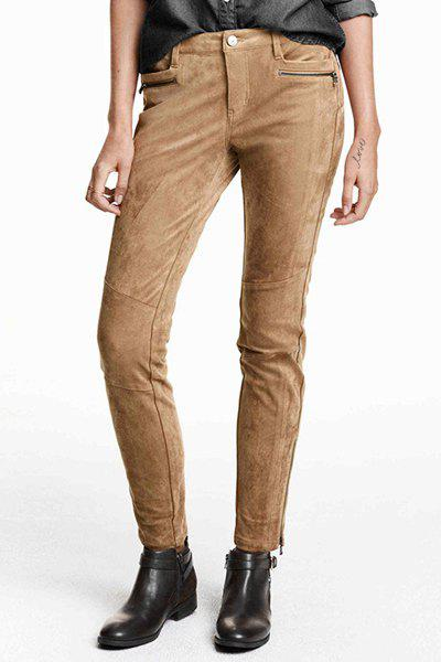 Suede Pockets Zipper Embellished Solid Color Narrow Feet Pants 156892906