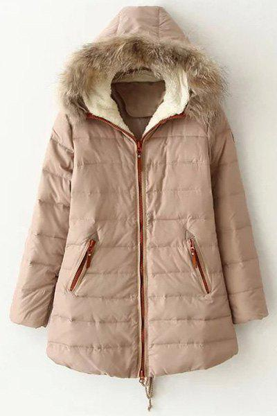 Hooded Faux Fur Collar Quilted Coat 159672102