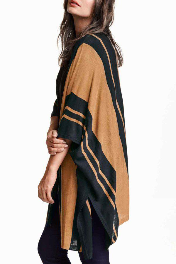 Striped Loose Fitting Batwing Sleeves Long Cardigan 161092008