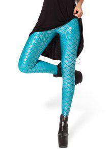 Fish Scale Print Sexy Bodycon Leggings - Light Blue Xl