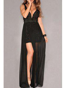 Crochet Flower Mesh Overlap Lace Dress - Black L