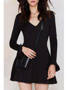 Buy Solid Color V-Neck Butterfly Sleeves Dress - BLACK L