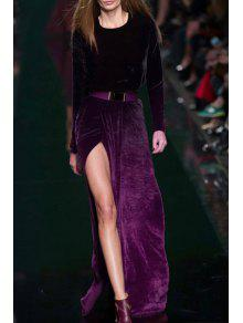 التدرج اللون السامية الشق طويلة الأكمام فستان ماكسي - أرجواني M