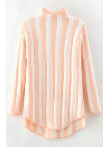 Stand Neck Vertical Stripes Sweater - Pink