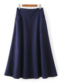 Buy Solid Color Woolen High Waisted Line Skirt - PURPLISH BLUE S