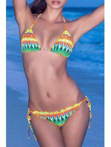 Colored Print Halter Lace Up Bikini Set - Yellow S