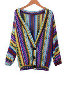 V-Neck Long Sleeve Colorful Cardigan BLUE: Sweaters ONE SIZE(FIT ...