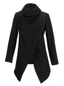 Large Lapel Button Design Piped Trench Coat - Black L
