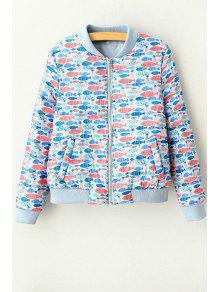Full Fish Print Stand Neck Long Sleeve Jacket - Blue M