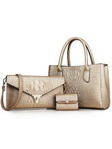 Buy Charming Crocodile Print PU Leather Design Women's Tote Bag - GOLDEN