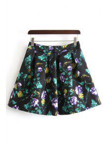 Buy A-Line Ruffled Floral Print Skirt - BLACK L