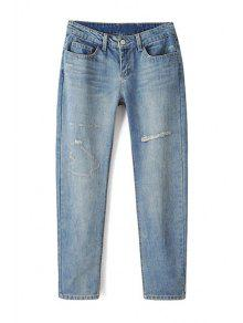 Buy Bleach Wash Ripped Light Blue Jeans - LIGHT BLUE M