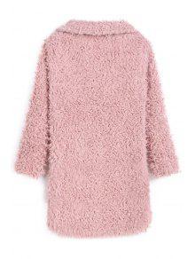 2019 Faux Fur Collarless Long Sleeve Coat In Pink Xl Zaful