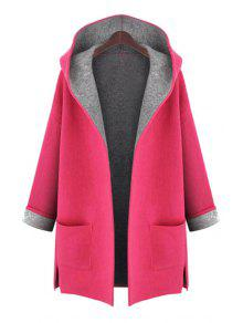 Hooded Long Sleeve Two Pockets Coat - Red 3xl