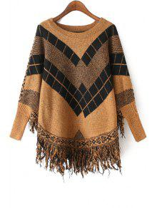 Geometric Pattern Fringes Cape Round Collar Sweater - Khaki