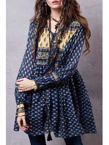 Long Sleeve Tiny Floral Tunic Dress - Blue L