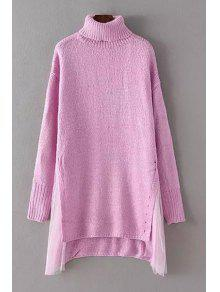 High-Low Hem Voile Spliced Turtle Neck Sweater - PINK ONE SIZE(FIT SIZE XS TO M)