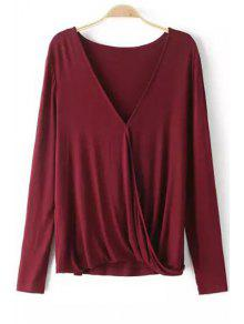 Plunging Neck Long Sleeve Cross T-Shirt - Wine Red L