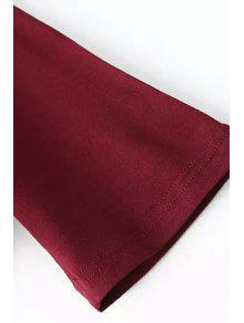 La De Rojo Plunging Vino De Larga Manga L Cruz Neck Camiseta zz1wXY