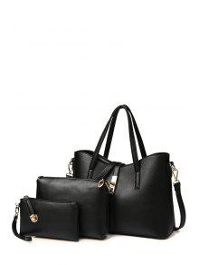 Solid Color Metal Hasp Shoulder Bag - Black