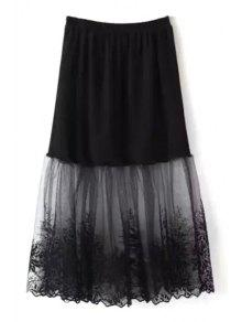 Lace Mesh Spliced A Line Skirt - Black