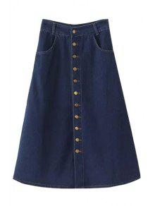 Buy Denim Single-Breasted Solid Color Skirt - BLUE M