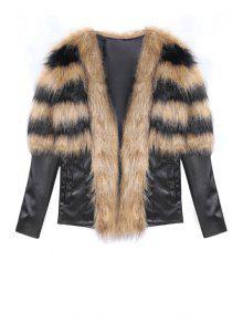 Faux Fur Spliced Long Sleeve Coat - Brown L
