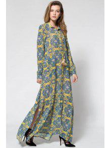 فستان أصفر طباعة غارق الرقبة طويلة الأكمام ماكسي - الأصفر S
