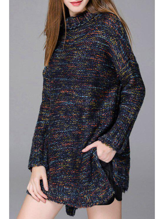 outfit Turtleneck Mixed Color Side Slit Long Sweater - CADETBLUE ONE SIZE(FIT SIZE XS TO M)