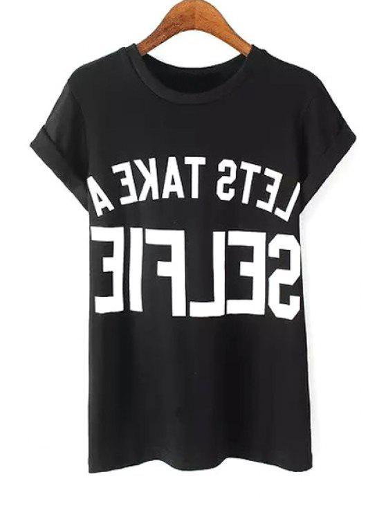 fancy Round Neck Letter Print T-Shirt - BLACK S