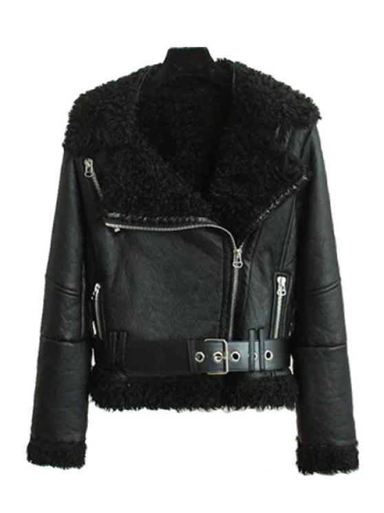 outfits PU Leather Long Sleeve Fur Collar Jacket - BLACK L