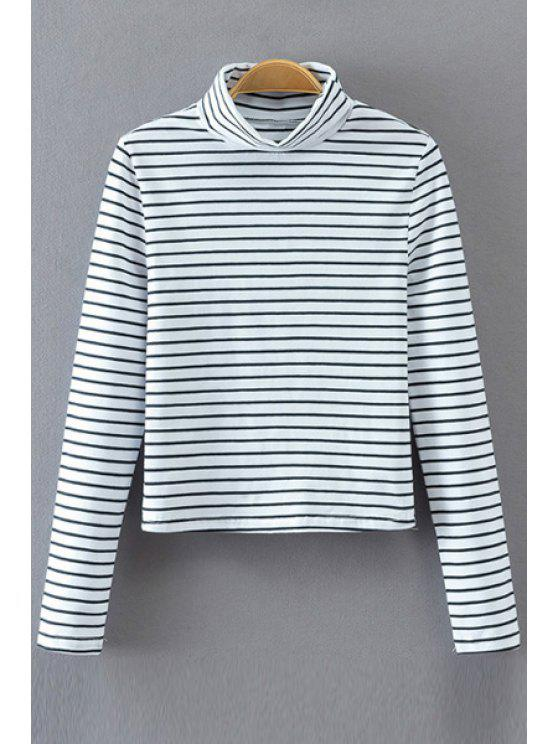 fashion Striped Long Sleeve Turtle Neck T-Shirt - WHITE S