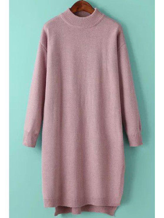 new Solid Color Side Slit High Low Hem Sweater Dress - PINK ONE SIZE(FIT SIZE XS TO M)