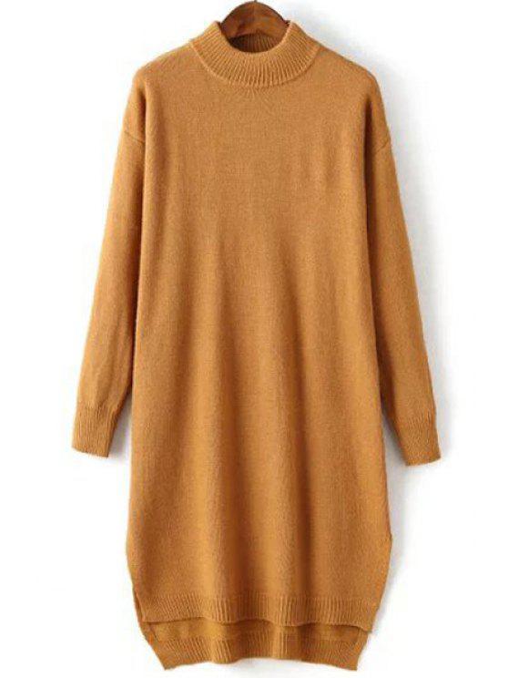 8d9a19e6535 29% OFF  2019 Solid Color Side Slit High Low Hem Sweater Dress In ...