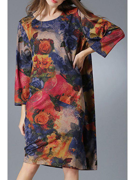 buy Flower Print Long Sleeve Loose Dress - BLUE 4XL