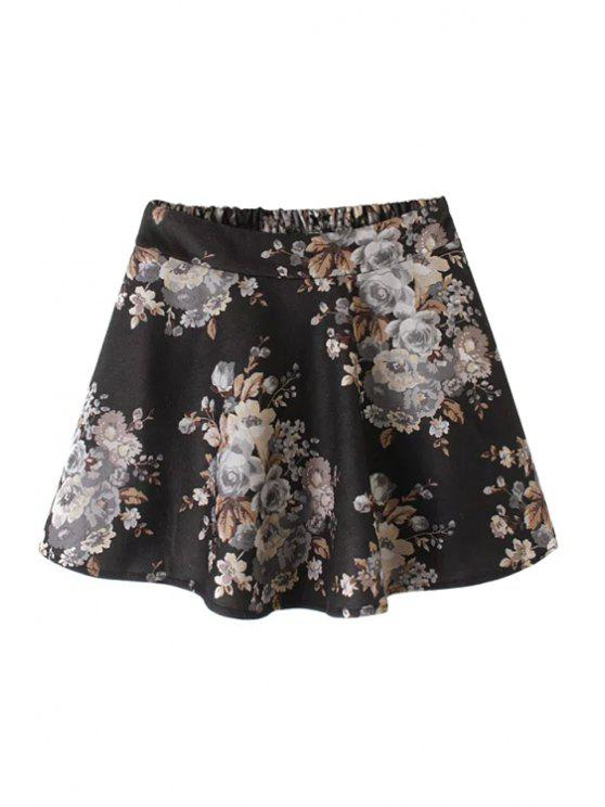 ladies Floral Print Elastic Waist Mini Skirt - BLACK L