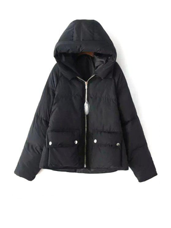 Solid Color Hooded Long Sleeve Pockets Padded Coat BLACK: Jackets ...