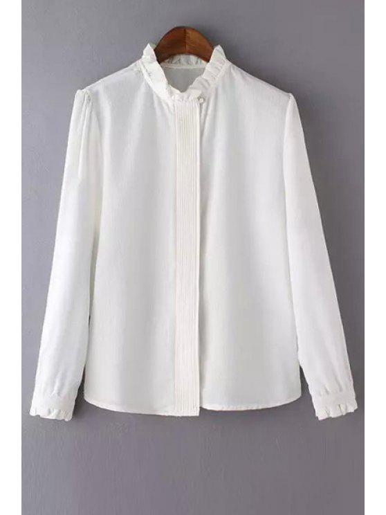 women's Solid Color Agaric Collar Long Sleeve Blouse - WHITE M