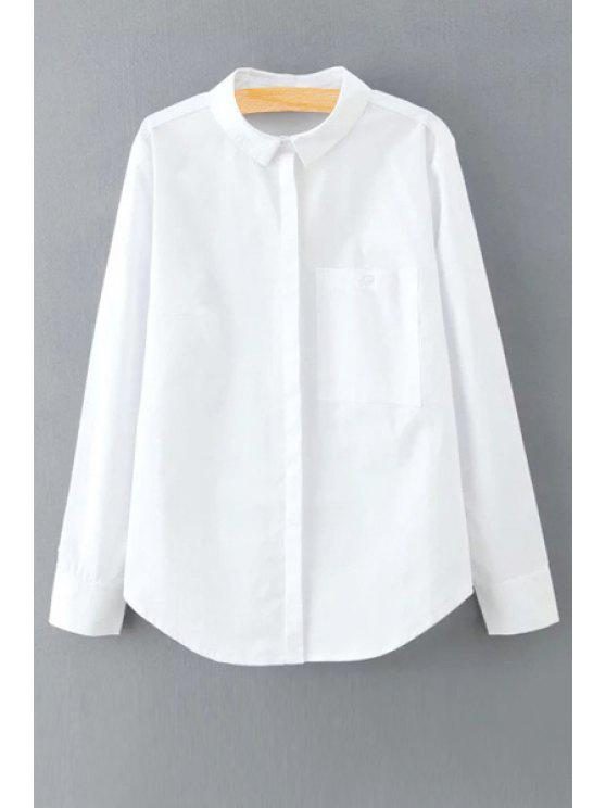 fancy Solid Color Long Sleeve Shirt Collar Shirt - WHITE M