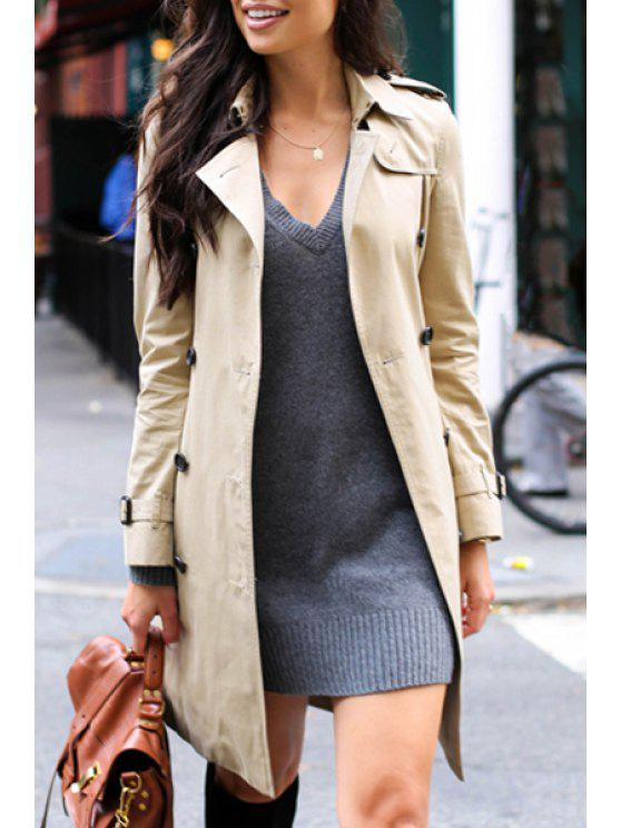 online Khaki Turn Down Collar Long Sleeve Trench Coat - LIGHT KHAKI L