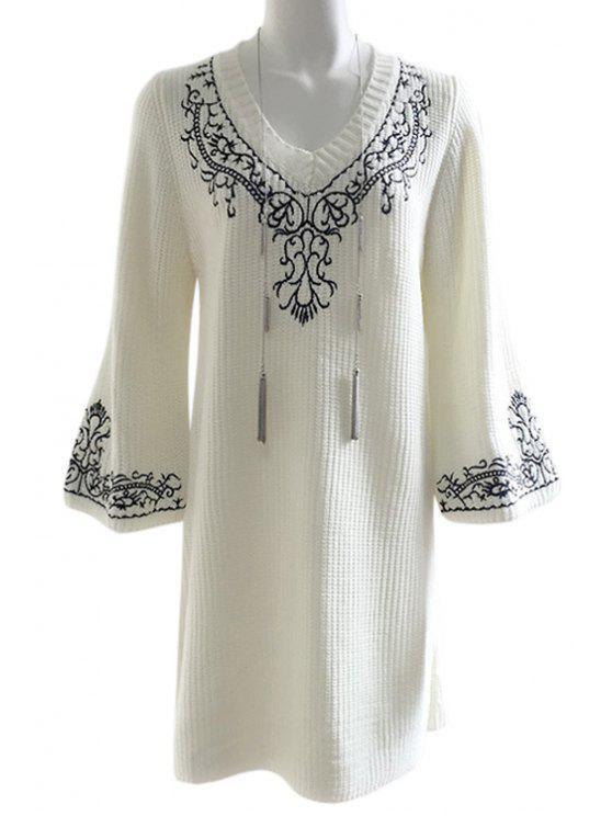 Loose Fitting Floral bordado suéter vestido - Blanco Un tamaño(Montar tam