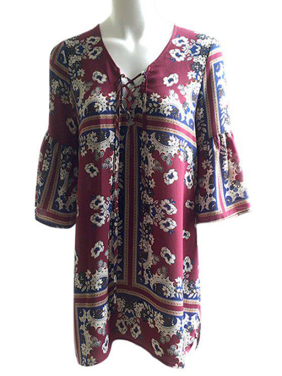 Recortar la manga de imitación de imitación de encaje vestido - Colores Mezclados M