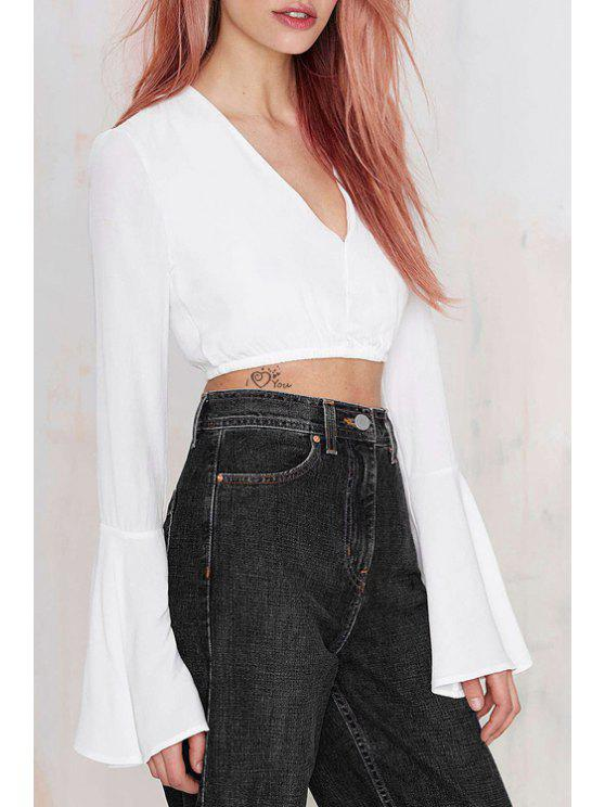 fe0a6d8b2e359c 15% OFF  2019 Long Bell Sleeve White Chiffon Crop Top In WHITE