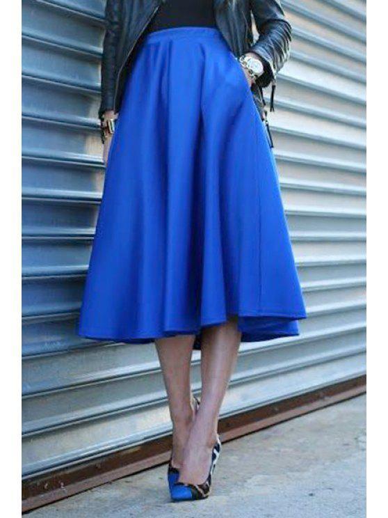 sale High-Waisted Ruffled A-Line Blue Skirt - BLUE L