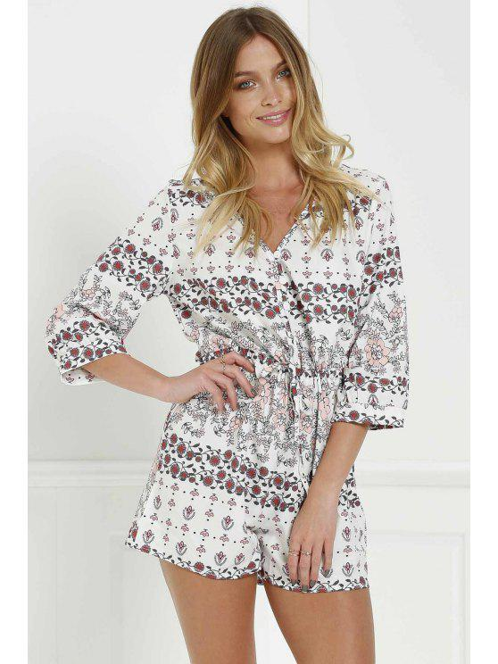 shops Print V-Neck 3/4 Sleeve Romper - WHITE S